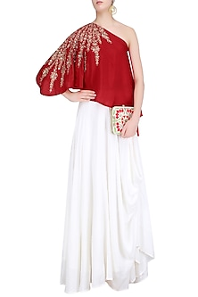 Red Embroidered One Shoulder Top with White Cowl Skirt by Prathyusha Garimella