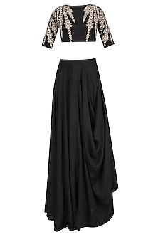 Black Embroidered Crop Top and Cowl Skirt Set by Prathyusha Garimella