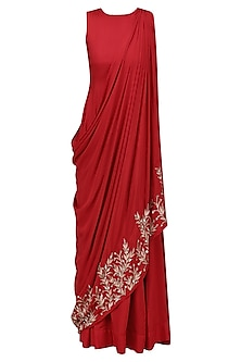 Red and Gold Leaf Embroidered Drape Dress by Prathyusha Garimella
