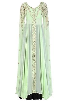 Mint Green Embroidered Cape Sleeves Jacket With Black Dhoti Pants by Prathyusha Garimella
