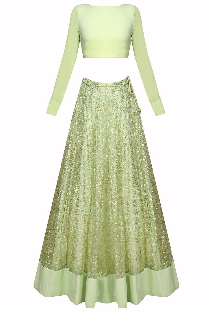 Mint Green And Gold Leaves Pattern Sequins And Zari Embroidered Lehenga Set by Prathyusha Garimella
