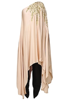 Pale Pink And Gold Leaves Gota Patti Work One Shoulder Dress And Black Dhoti Pants Set by Prathyusha Garimella