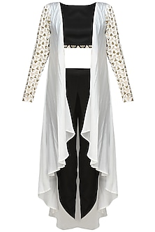 White Triangular Motifs Jacket With Black Crop Top And Dhoti Pants by Prathyusha Garimella