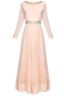 Blush Pink And Gold Leaves Pattern Zari And Sequins Embroidered Anarkali Set by Prathyusha Garimella