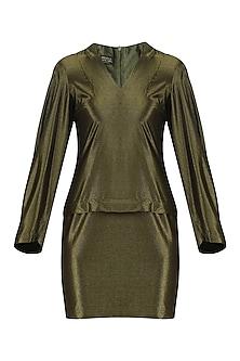 Metallic Mustard Short Dress by Priyanka Gangwal