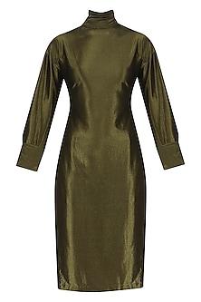 Metallic Mustard Drop Back Slit Dress by Priyanka Gangwal