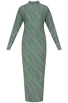 Teal Hairline Print Maxi Dress by Priyanka Gangwal