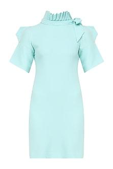 Deep Sky Blue Pleated Neckline Dress by Priyanka Gangwal