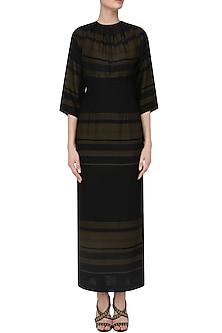 Black and Yellow Striped Corset Dress by Priyanka Gangwal