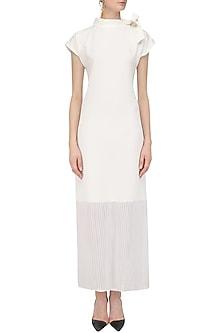 Ivory Semi Pleated Maxi Dress by Priyanka Gangwal