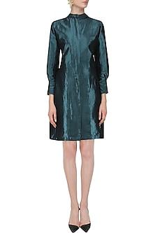 Metallic Blue Back Pleated Jacket Dress by Priyanka Gangwal