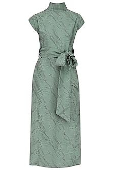 Teal Hairline Print Slit Dress by Priyanka Gangwal
