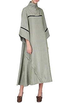 Organic Green Leather Yoke Flared Dress by Priyanka Gangwal