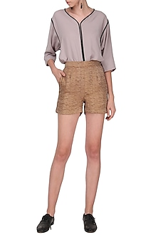 Rust Silk Blend Shorts by Priyanka Gangwal