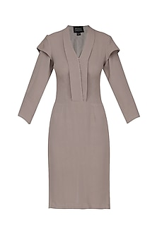 Grey Layered Sleeves Knee Length Dress by Priyanka Gangwal