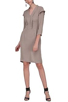 Grey Layered Sleeves Knee Length Dress by Priyanka Gangwal