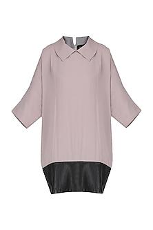 Grey Leather Detailed Raglan Dress by Priyanka Gangwal