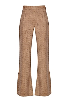 Rust Silk Blend Bell Bottoms by Priyanka Gangwal