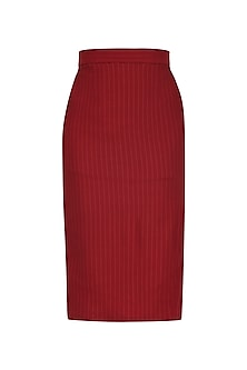 Red Side Slit Knee Length Pencil Skirt by Priyanka Gangwal