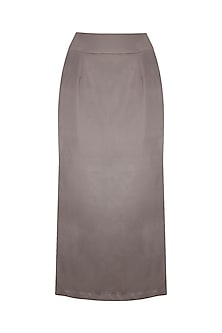 Steel Grey Side Slit Midi Skirt by Priyanka Gangwal