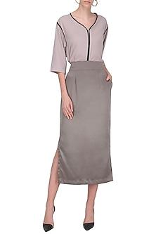 Steel Grey Side Slit Midi Skirt by Priyanka Gangwal
