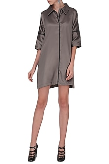 Steel Grey Leather Detailed Shirt Dress by Priyanka Gangwal