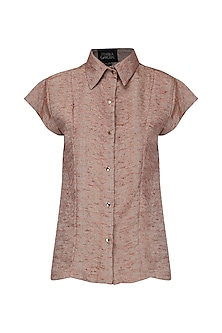 Rust Front Open Shirt by Priyanka Gangwal