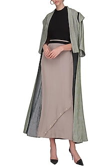 Grey Metallic Button Detailed Maxi Skirt by Priyanka Gangwal