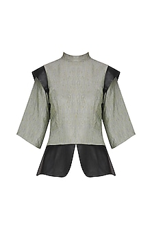 Organic Green Leather Detailed Peplum Top by Priyanka Gangwal