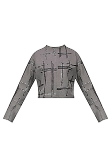 Grey Geometric Embroidered Sweater Top by Priyanka Gangwal