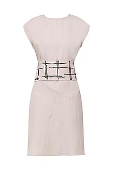 Nude Multi Panelled A-Line Dress by Priyanka Gangwal