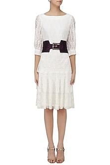 White Lace Layered Dress by Priyanka Gangwal