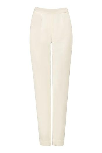 White Formal Trousers by Priyanka Gangwal
