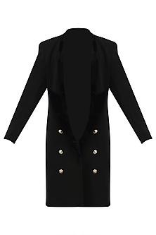 Black Velvet Lapel Overcoat by Priyanka Gangwal