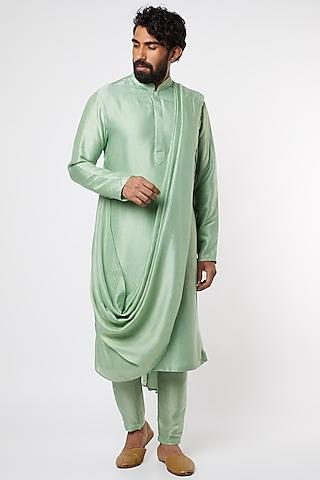 Green Pre-Stitched Kurta Set by Prathyusha Garimella Men