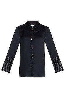 Black Metallic Embellished Shirt by Payal Goenka
