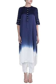 Navy Blue Embellished Ombre Kurta With  Pants by Payal Goenka