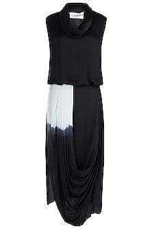 Black Cowl Neck Top With Drape Skirt by Payal Goenka
