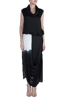 Black Cowl Neck Top With Drape Skirt by Payal Goenka