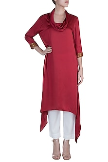 Red Embellished Asymmetrical Cowl Neck Tunic With Pants by Payal Goenka