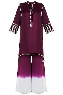 Wine High-Low Kurta With Ombre Pants by Payal Goenka