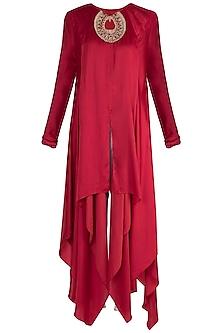 Red Embellished Kurta With Dhoti Pants by Payal Goenka