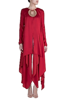 Red Embellished Kurta With Dhoti Pants by Payal Goenka
