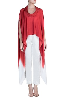 Red Embellished Ombre Cape Top With White Pants by Payal Goenka
