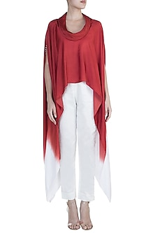 Red Embellished Ombre Cape Top by Payal Goenka