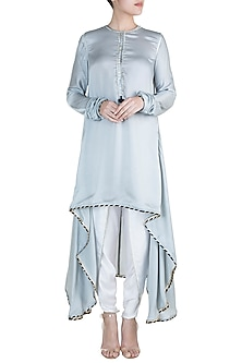 Powder Blue High-Low Kurta With Dhoti Pants by Payal Goenka