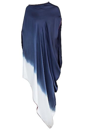 Navy Blue Embellished Ombre Tunic by Payal Goenka