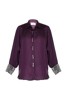 Wine Embellished Shirt by Payal Goenka