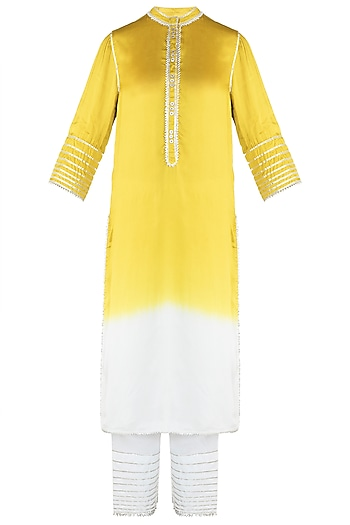 Yellow Ombre Kurta With Pants by Payal Goenka