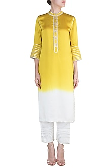 Yellow Ombre Kurta With Pants by Payal Goenka